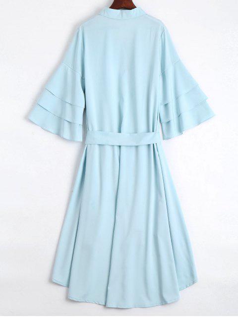 women Button Up Belted Flare Sleeve Dress - LIGHT BLUE L Mobile