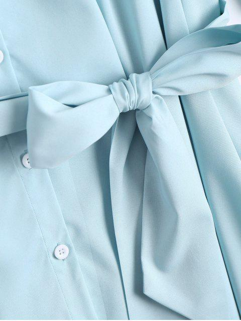 women's Button Up Belted Flare Sleeve Dress - LIGHT BLUE XL Mobile