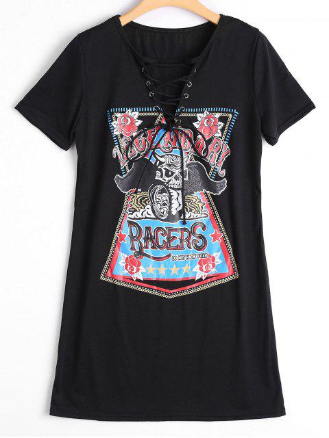 ladies Lace Up Skull Letter Print Shift Dress - BLACK S Mobile