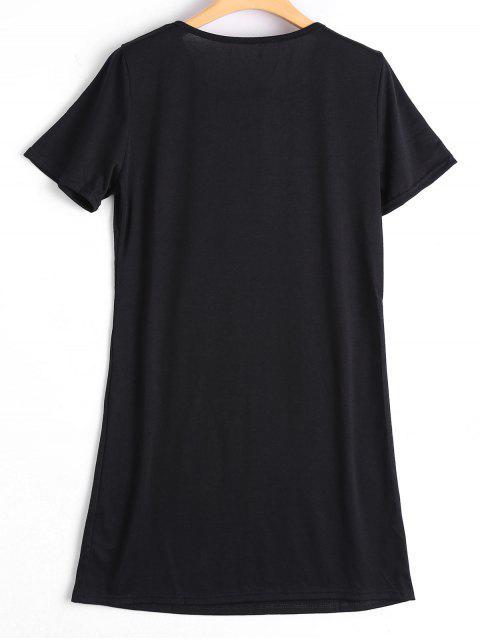 lady Lace Up Skull Letter Print Shift Dress - BLACK M Mobile