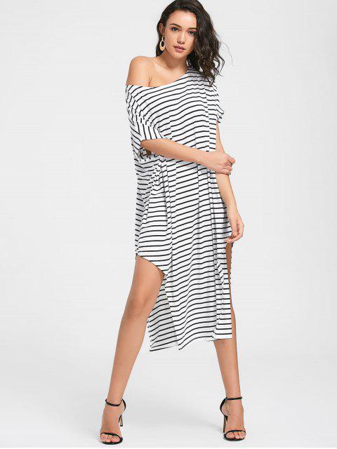 Seitliche Schlitz Ein Schulter Gestreiftes Kleid - Weiß L Mobile