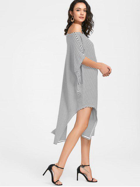 best Side Slit Skew Neck Striped Dress - WHITE L Mobile