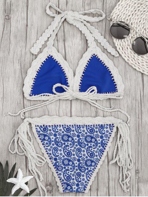 sale Paisley Halter Bralette Crochet String Bathing Suit - BLUE M Mobile