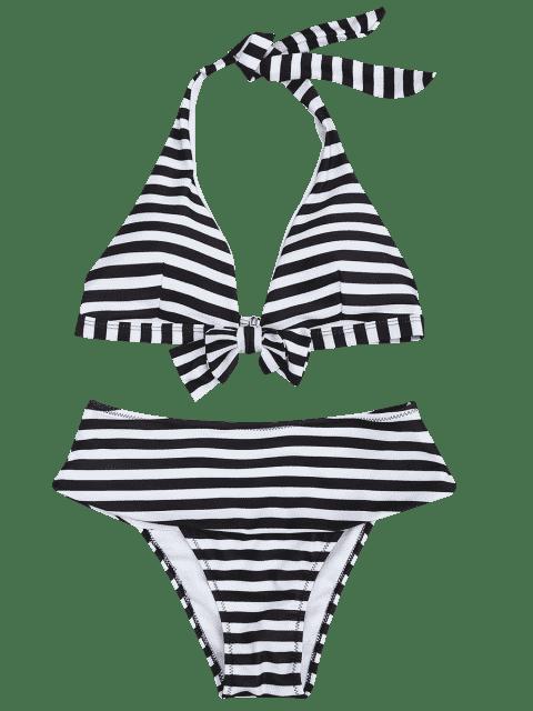 women Halter Striped Bikini Top and Bottoms - WHITE AND BLACK S Mobile