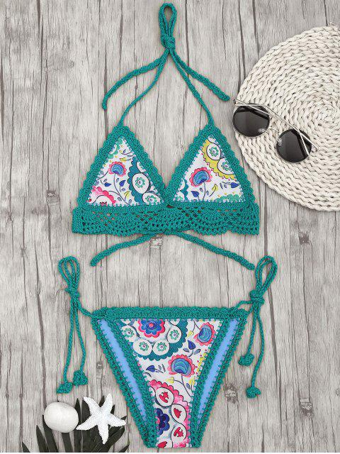 lady Bralette Scalloped Crochet Sun Floral String Bikini - GREEN S Mobile