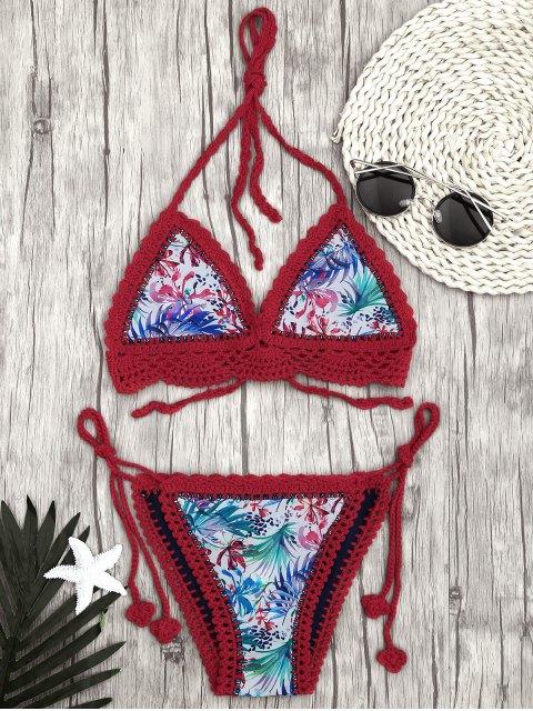 best Leaf Bralette Scalloped Crochet String Bikini - RED L Mobile