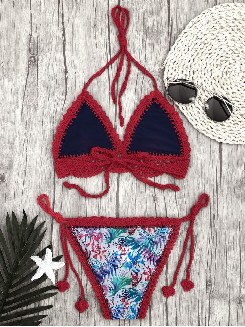 new Leaf Bralette Scalloped Crochet String Bikini - RED S Mobile
