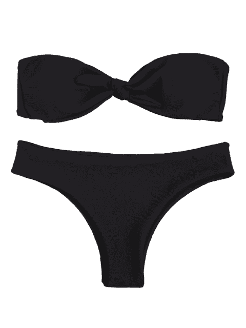 outfit Padded Knotted Bandeau Bikini Set - BLACK M Mobile