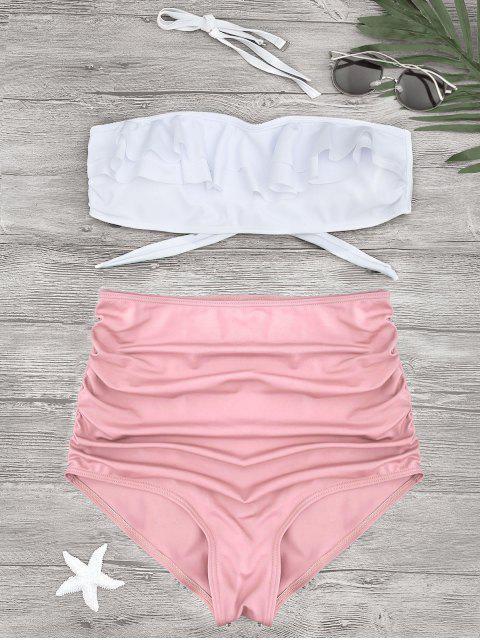 shops Ruched Ruffles Bandeau High Waisted Bikini - PINK M Mobile