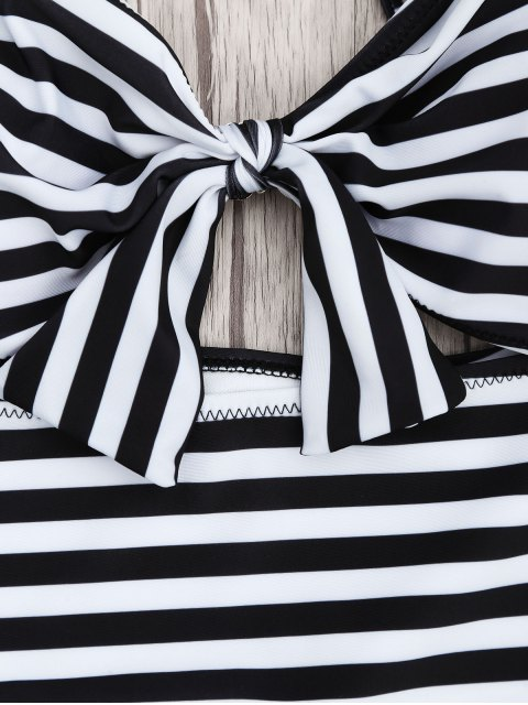 trendy Striped Knot Cut Out One Piece Swimsuit - WHITE AND BLACK L Mobile