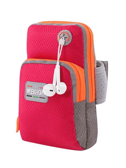 hot Color Block Running Arm Bag - RED  Mobile