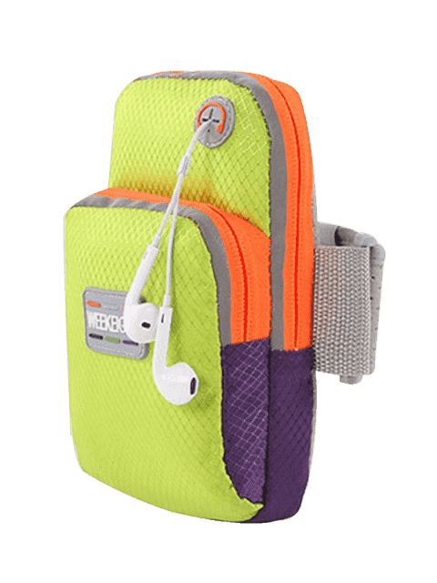 outfit Color Block Running Arm Bag - GREEN  Mobile