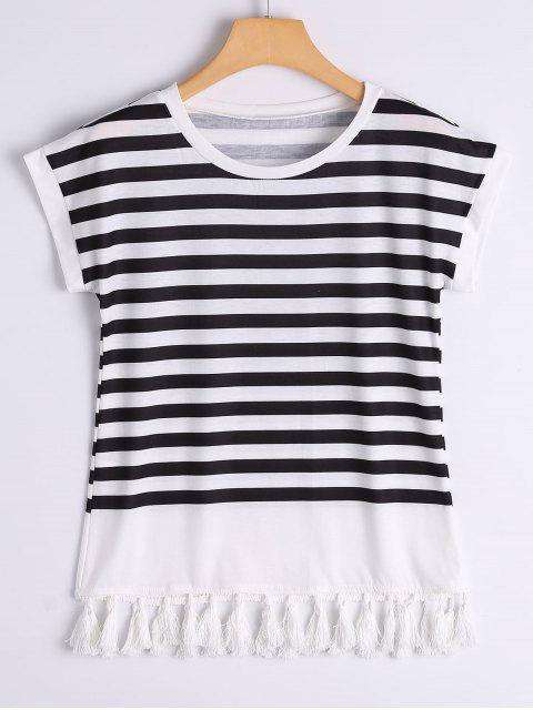 T-shirt Rayé à Glands Décoratifs - Rayure XL Mobile