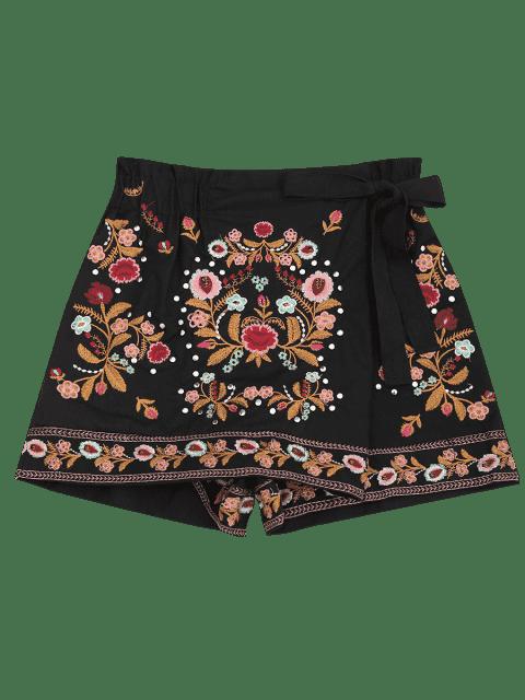 Short de Culotte brodé Floral Bowknot - Noir S Mobile