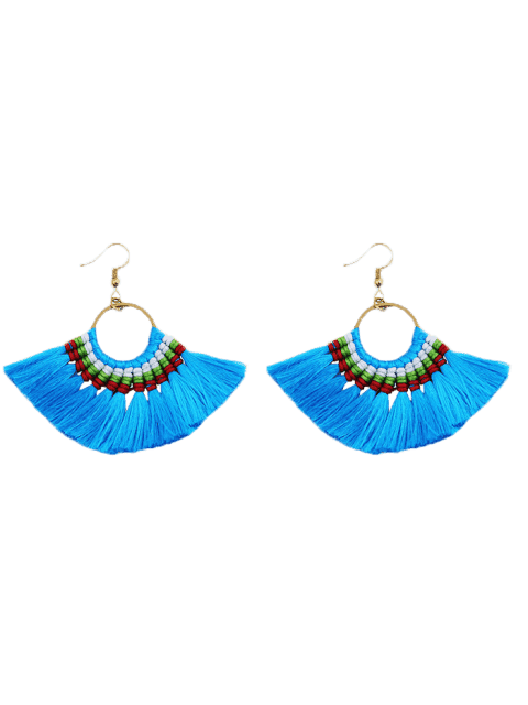 Ethnique Braid Circle Tassel Hook Earrings - Bleu  Mobile