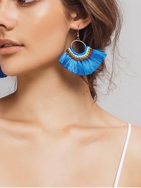 fancy Ethnic Braid Circle Tassel Hook Earrings - BLUE  Mobile