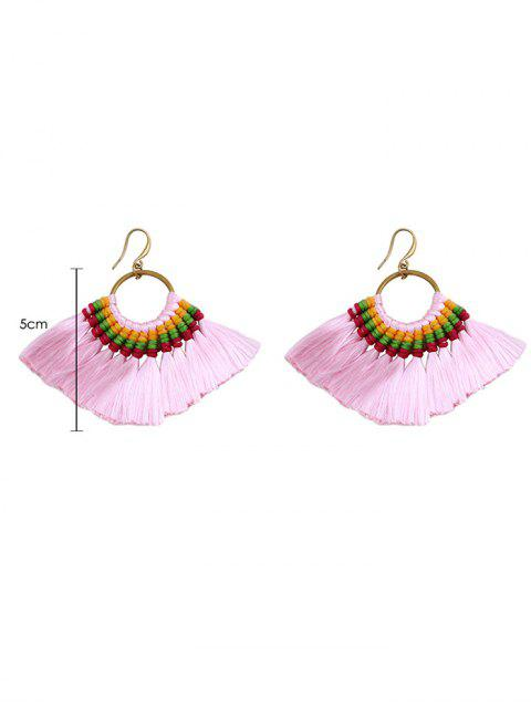 sale Ethnic Braid Circle Tassel Hook Earrings - PINK  Mobile