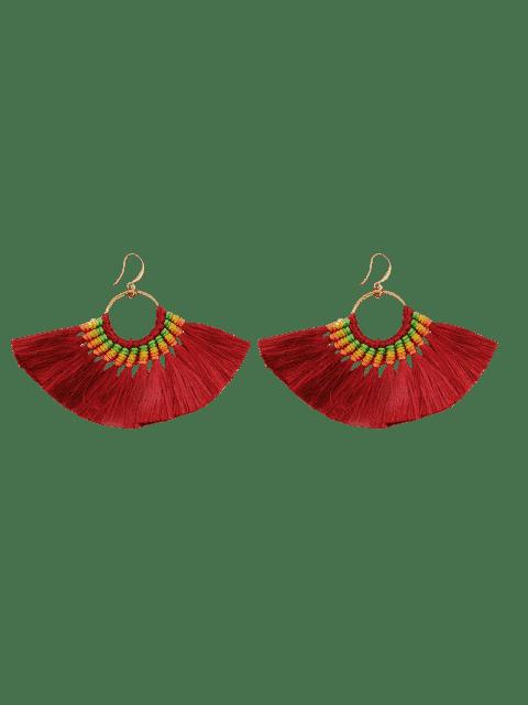 buy Ethnic Braid Circle Tassel Hook Earrings - WINE RED  Mobile