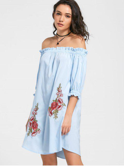 latest Floral Patched Ruffled Off The Shoulder Dress - LIGHT BLUE S Mobile