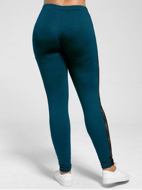 best Plus Size Lace Insert Sheer Leggings - PEACOCK BLUE 3XL Mobile