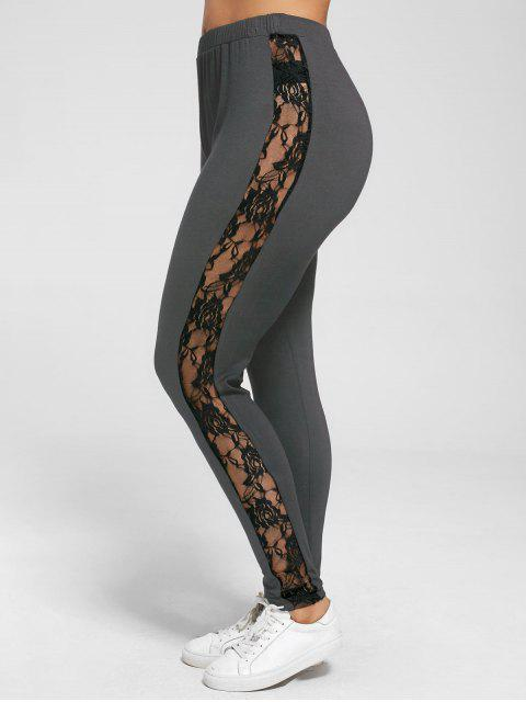 unique Plus Size Lace Insert Sheer Leggings - DEEP GRAY 4XL Mobile
