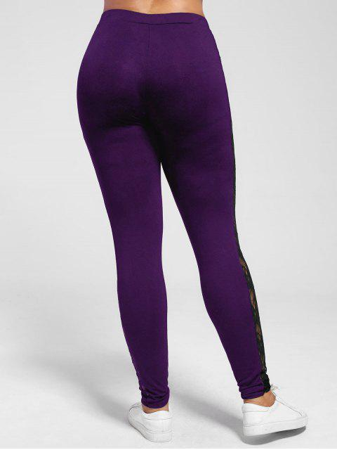 affordable Plus Size Lace Insert Sheer Leggings - PURPLE 5XL Mobile
