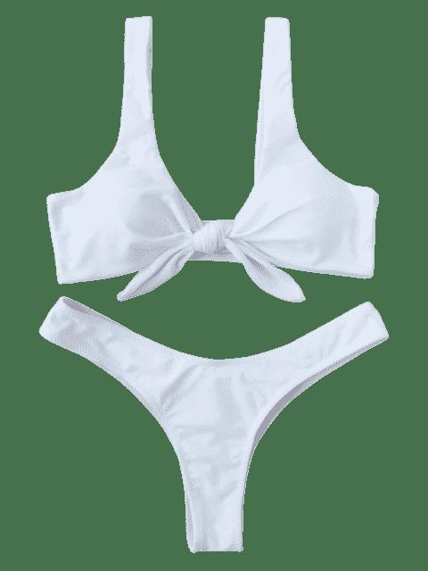 lady Padded Knotted Thong Bikini - WHITE L Mobile