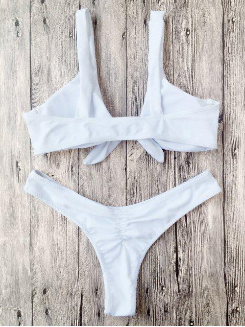 best Padded Knotted Thong Bikini - WHITE M Mobile