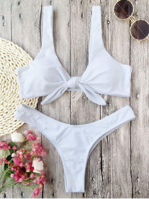 Bikini Thong Paddé Noué - Blanc S Mobile