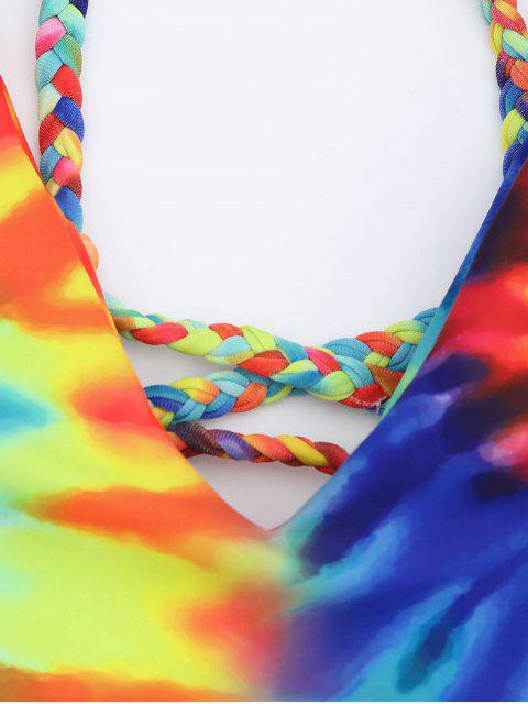 outfit Tie Dye Braided Criss Cross Bikini Set - BLUE S Mobile