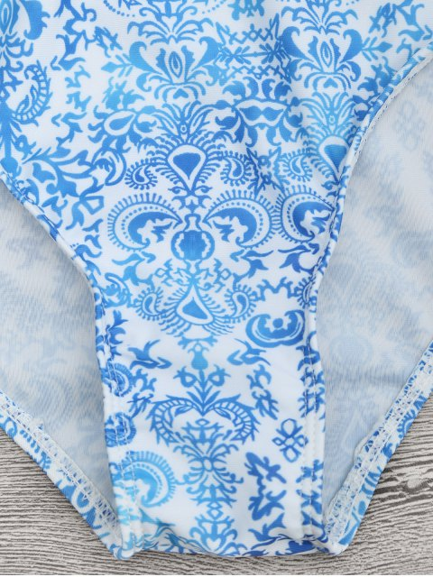 fancy Printed Backless Lace Up One Piece Swimsuit - BLUE AND WHITE XL Mobile