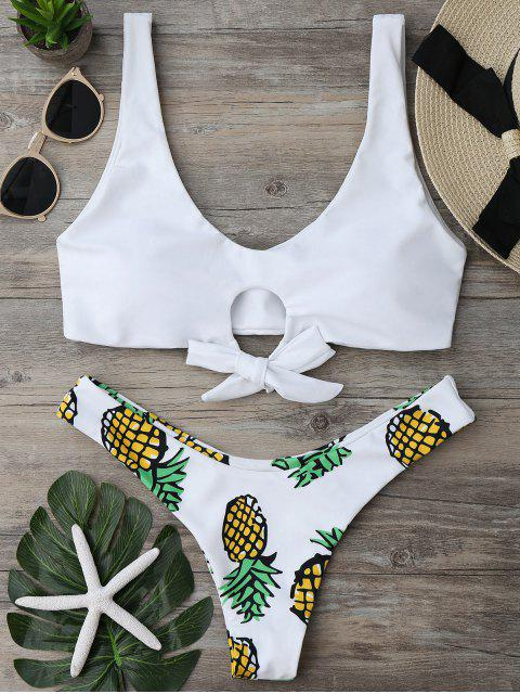 women's Pineapple Print Thong Bottom Bikini Set - WHITE S Mobile