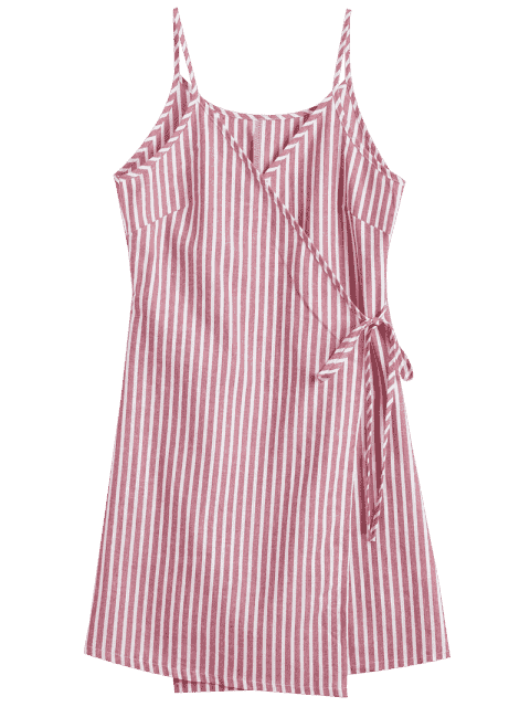 affordable Cami Striped Wrap Dress - RED XL Mobile