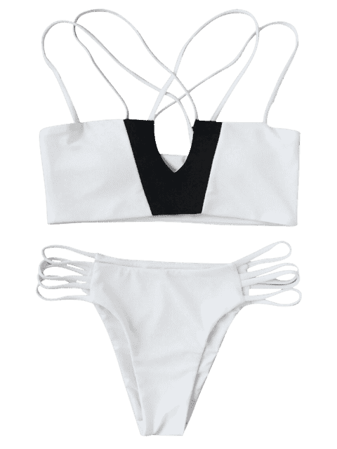 affordable Two Tone Strappy Bikini Top and Bottoms - WHITE AND BLACK L Mobile
