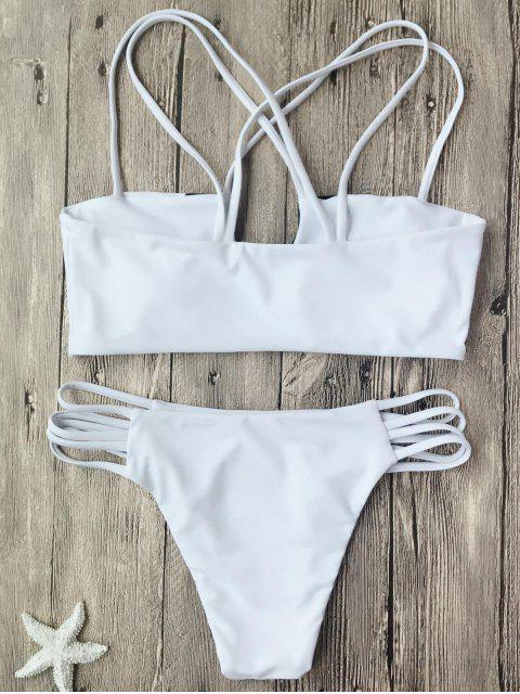 buy Two Tone Strappy Bikini Top and Bottoms - WHITE AND BLACK M Mobile