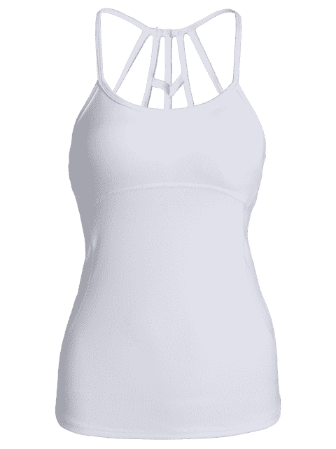 womens Back Strappy Padded Gym Top - WHITE S Mobile