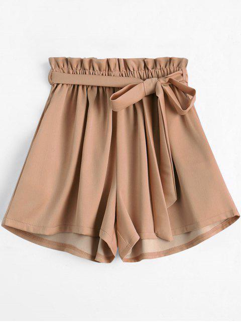 fashion Smocked Belted High Waisted Shorts - KHAKI ONE SIZE Mobile