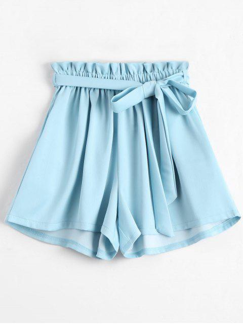trendy Smocked Belted High Waisted Shorts - BLUE ONE SIZE Mobile
