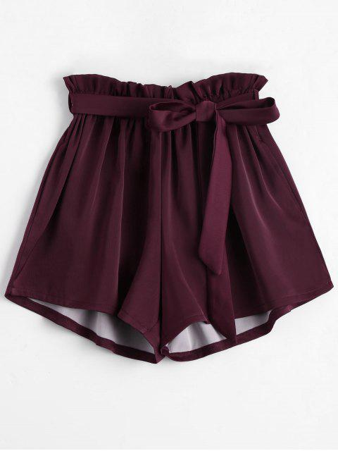 latest Smocked Belted High Waisted Shorts - WINE RED ONE SIZE Mobile
