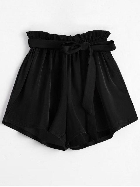 Gefaltete Shorts mit Gürtel und hoher Taille - Schwarz Eine Größe Mobile