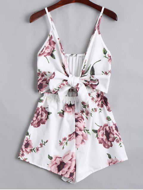 shop Floral Print Plunge Cami Romper - FLORAL 2XL Mobile