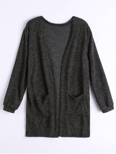 Pockets Open Front Cardigan - Schwarz XL  Mobile