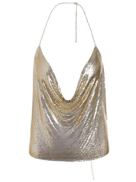 outfit Shimmering Metal Bra Halter Body Jewelry - GOLDEN  Mobile