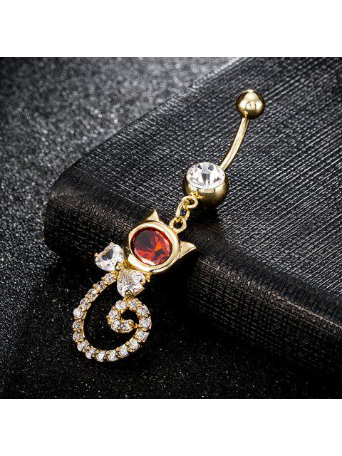latest Rhinestone Cat Design Navel Button - RED  Mobile