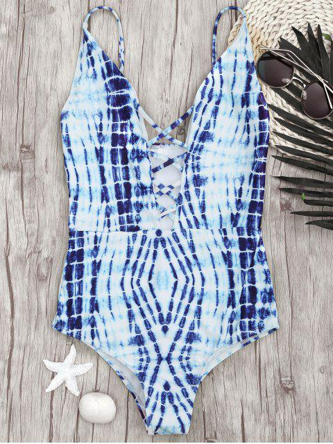 trendy Bralette Tie-Dyed Front Strappy Swimwear - BLUE S Mobile