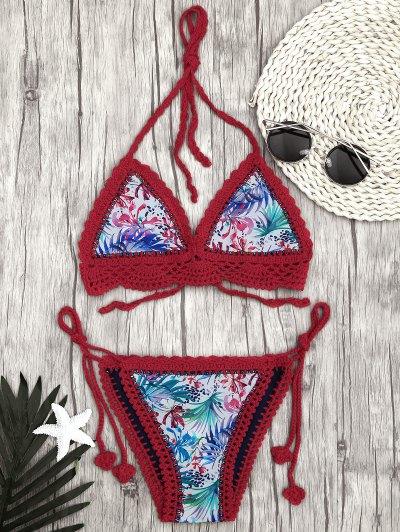 db14d705fe557 Leaf Bralette Scalloped Crochet String Bikini - Red