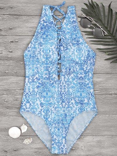 Impreso Backless Encaje Hasta Traje De Baño De Una Pieza - Azul Y Blanco M