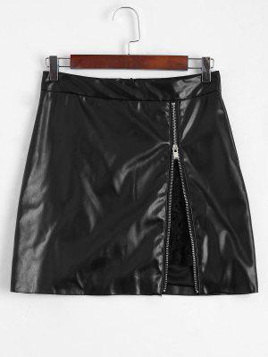Zip Up Falda De Piel De Falda De Panel De Encaje - Negro M