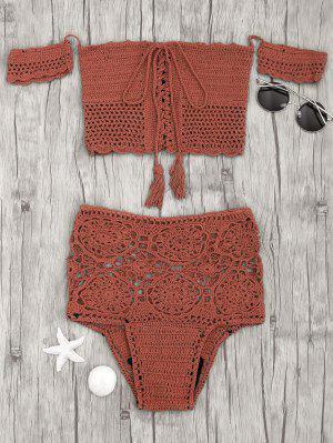 Bikini De Ganchillo Con Cintura Alta - Rojo Ladrillo M