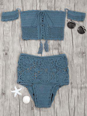 Bikini De Ganchillo Con Cintura Alta - Pavo Real Azul - Pavo Real Azul S